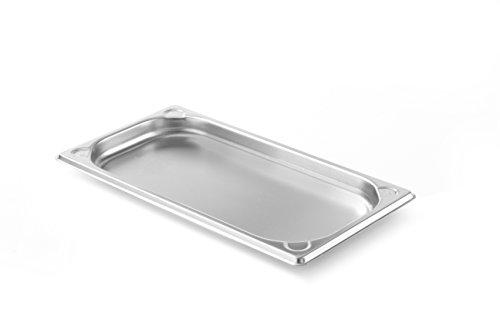 HENDI Gastronormbehälter, Temperaturbeständig von -40° bis 300°C, Heissluftöfen-Kühl- und Tiefkühlschränken-Chafing Dishes-Bain Marie, Stapelbar, GN 1/3, 325x176x(H)20mm, Edelstahl, 0,6 Liter