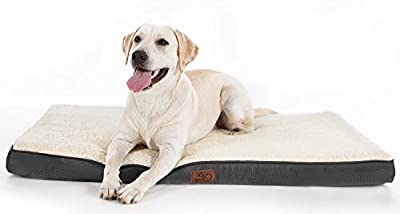 Bedsure Large Dog Bed for Small, Medium, Large Dogs/Cats Up to 75 lbs - Orthopedic Egg-Crate Foam with Removable Washable Cover - Water-Resistant Pet Mat for Crate, Grey