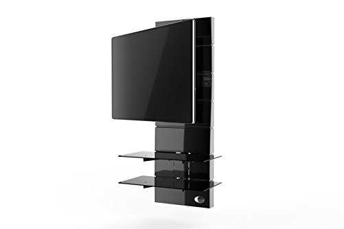 Meliconi Ghost Design 3000 Rotation Supporto Doppio Braccio Orientabile per TV da 32  a 63  con Mensole in Vetro Temperato, Nero