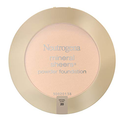 Neutrogena Mineral Sheers Compact Powder Foundation, Lightweight & Oil-Free Mineral Foundation, Fragrance-Free, Natural Ivory 20,.34 oz (Pack of 2)