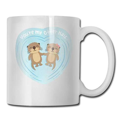 Eres mi mitad de la taza de café divertida de Otter Eres increíble Regalo de Hanukkah de Navidad de vacaciones de cerámica único para hombres y mujeres que aman las tazas de té y las tazas de café