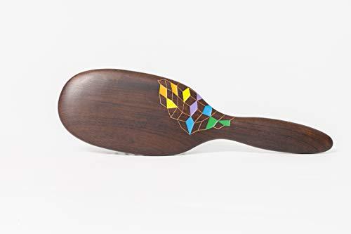Tan Mujiang Brosse de soin pour cheveux en bois naturel avec poils arrondis pour peigner et masser tous les jours, antistatique, fait à la main et aux enfants