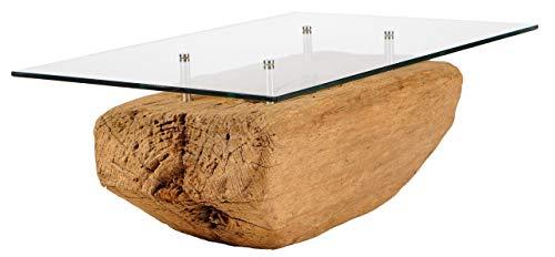Windalf Mesa de café antigua con tablero de cristal, 75 x 36 cm, madera de teca, pieza única, hecha a mano de raíz
