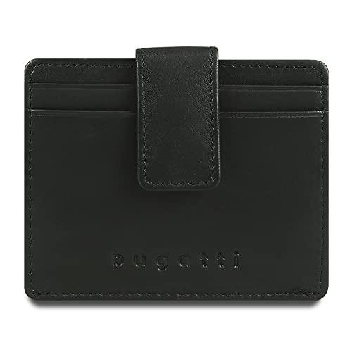 Bugatti Primo Kartenetui RFID 8CC – Herren Leder Kreditkartenetui - Credit Card Holder Wallet, Schwarz