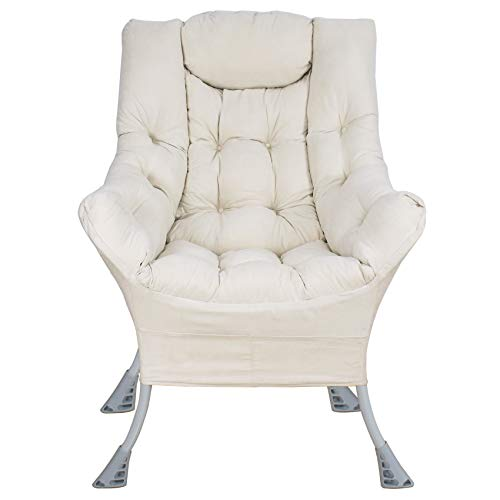 Superrella Modern Soft Accent Chair Living Room Upholstered Single Armchair High Back Lazy Sofa (White)