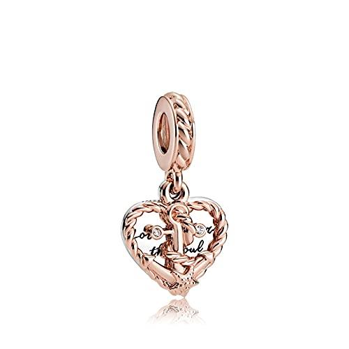 LILANG Pandora 925 Pulsera de joyería Ancla Natural del Amor Verdadero Colgante Original Pan Rose Nudo Estrella Corazón Hacer BrazaleteEncanto Mujeres Regalos de Bricolaje