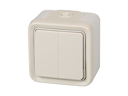 Legrand, 191518 Plexo - Interruptor de pared doble, pulsador estanco de superficie de la gama Plexo, interruptor exterior doble, resistente al agua (IP55), color blanco