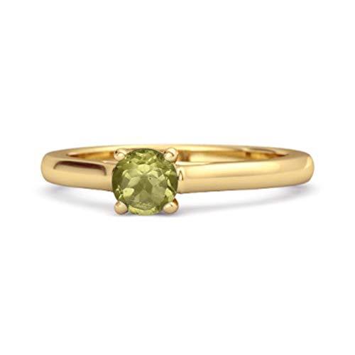 Shine Jewel Multi Elija su Solitario de Piedras Preciosas 0.10 Ctw Anillo Chapado en Oro Amarillo de Plata esterlina 925 (12, Peridoto)
