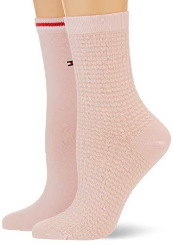 Tommy Hilfiger Womens Waffle Women's Short (2 Pack) Socks, pink, 39/42