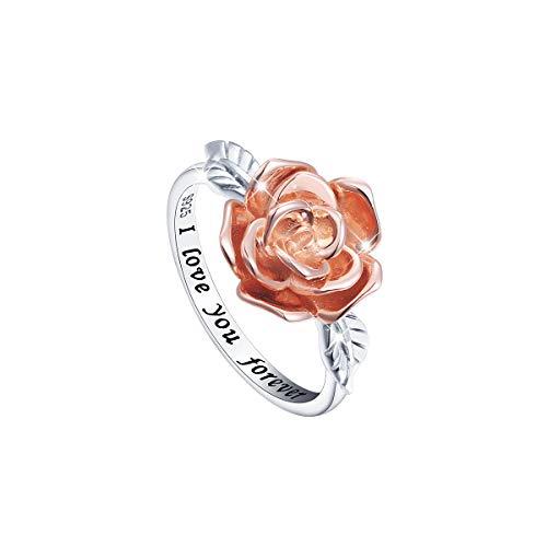 Rose Flower Promise Ring for Women S925 Sterling Silver I Love You Forever Rings