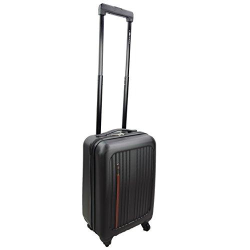 Premium Leonardo Koffer 31L Reisekoffer Handgepäck Trolley Hartschale Boardcase mit Lederapplikation (schwarz)