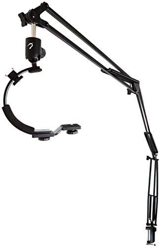 Heron - 5ft Articulating Arm Camera Mount - Flexible Desk Clamp Camera Arm for Mirrorless Digital Camera/Phone/Gopro7 with C Shape Stabilizer Handle - 5FT Reach Steel Boom - Desk Mount Camera Crane