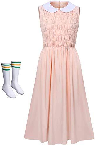 CPI Mujeres Stranger Things Once Vestido y Calcetines Vestido Rosa Disfraz para Adultos Halloween Cosplay, Rosa Claro, M