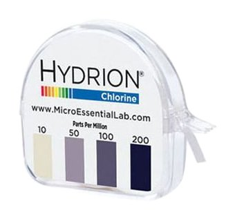 Micro Essential Lab CM-240 Hydrion Chlorine Dispenser 10-200 PPM Test Roll Plus Extra Roll 200 Tests