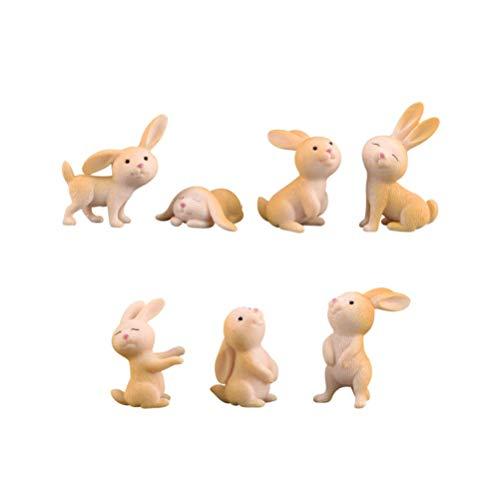 Healifty Mini Harz Figuren Kaninchen Skulptur Desktop Ornament Dekor für Ostern Party Requisiten Puppenhaus Bonsai Terrasse Liefert 7 Stücke (Gemischten Stil)