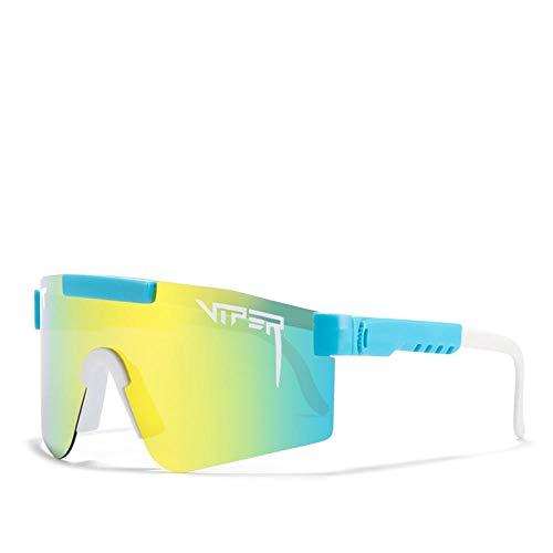 BGRFT Gafas de sol Pit Viper Gafas de sol polarizadas de doble ancho con espejo azul Tr90 Marco Protección Uv400 Gafas de sol deportivas de ciclismo C22
