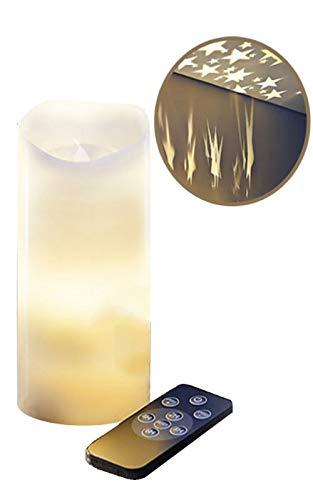 Kerze Echtwachs – Sternenhimmel – 3 Geschwindigkeitsstufen – Timer – 360° Projektion – Fernbedienung