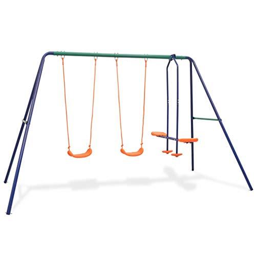 vidaXL Juego de Columpios para Jardín de 4 Piezas Asientos Juguete para Niños Parque Casero Infantil de Acero y Plástico Naranja