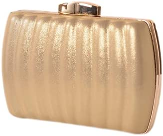 JINGXU Women's Evening Dress Bag, Pleated Leather Texture Material,Gold