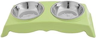 eDealMax Metal Inicio Plato Doble Diseño del perro casero Plato de la Cena de Alimentos Agua