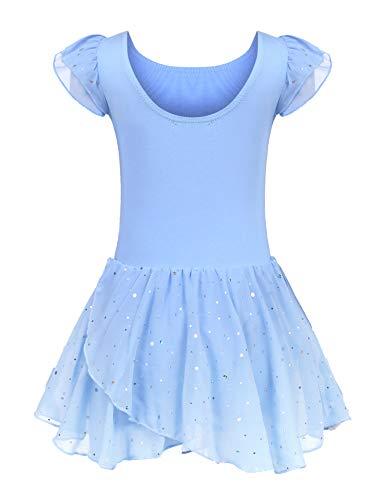 trudge Kinder Ballettkleidung Ballettkleid Mädchen Kurzarm Baumwolle Balletttrikot Ballettanzug Tanzkleid Tanzbody mit Rock Tütü, 120, Blau