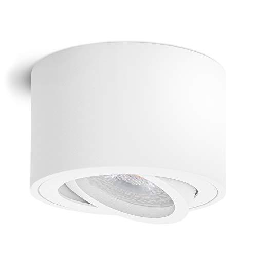 linovum SMOL LED Aufbauleuchte matt weiß - flach & schwenkbar - Aufbaustrahler inkl. wechselbarem LED Modul 5W warmweiß 230V