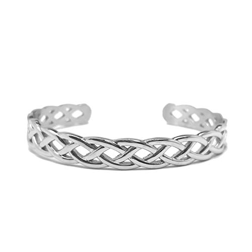 Womens Stainless Steel Silver Infinity Celtic Braided Cuff Bangle Bracelet Adjustable (stainless-steel)