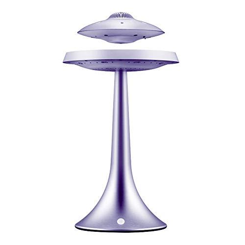 Lecc Maglev Altavoz UFO Metal Impermeable Carga Inalámbrica Altavoz Bluetooth 7 Colores Rotación Luz Noche Sonido Casero Lámpara Mesa Suspensión Suspensión San Valentín Romántico Decorativo,Silver