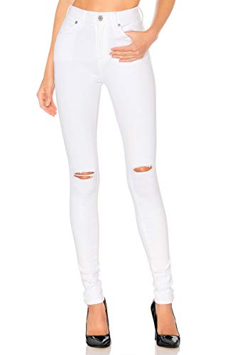 H HIAMIGOS High Waist Women Knee Skinny Denim Distressed Ripped Boyfriend Jeans (White, Ripped)