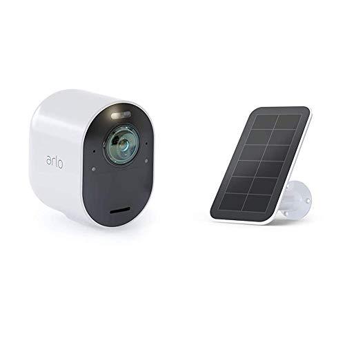 Arlo Ultra VMC5040 Telecamera Aggiuntiva 4K, per Sistema di Videosorveglianza Wi-Fi & VMA5600-10000S Pannello Solare per Videocamere Arlo Ultra e Pro3, Colore Bianco