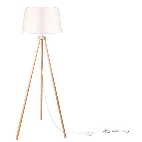 CCLIFE Modern Stehlampe LED Holz Standleuchte Stehleuchte Stoffschirm Schwenkbar E27 für Schlafzimmer Esszimmer Hotel Flur Halle, Farbe:Beige-Lampeschirm