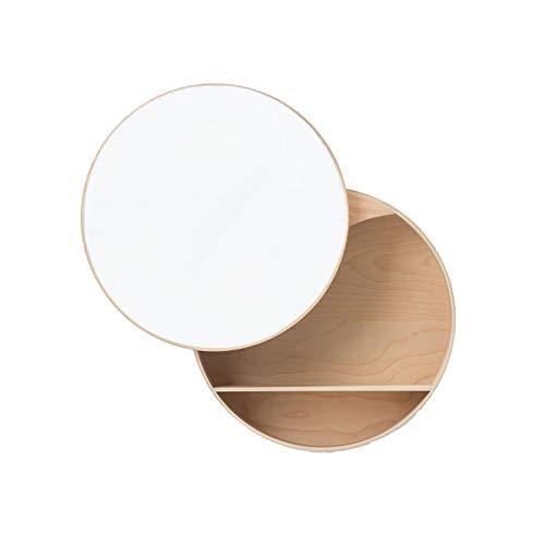 XIAOQIAO Espejo de Baño Espejo Redondo de Madera con Estante de Almacenamiento Espejo de Pared Espejo geométrico Decorativo para Pared para tocador de baño, Sala de Estar