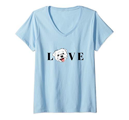 Womens Maltese Lover, Maltese Mom, Maltese Gift, Maltese Drawing V-Neck T-Shirt