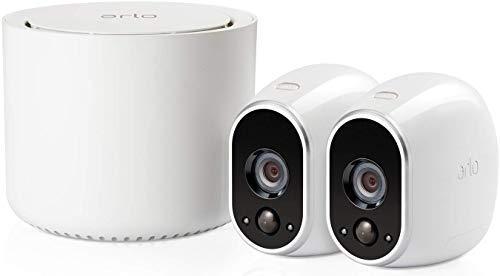 Arlo HD Überwachungskamera & Alarmanlage, 2er Set, Smart Home, kabellos, Innen/Außen, Nachtsicht, WLAN, wetterfest, Bewegungsmelder, (VMS3230) - Weiß