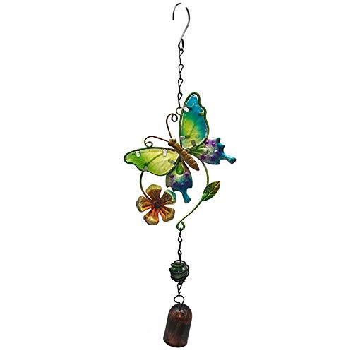 XCZWG Painted Butterfly Rust-Proof Metal Wind Chime Hanging Room Decoration For Festive Decoration, Home Garden Mother Gift Form Son/Daughter Friend Neighbor Housewarming Gift Yellow flowers