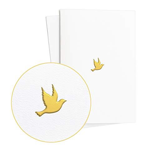 Carte élégante pour baptême - garçon ou fille - pour cadeau de baptême ou de naissance - avec colombe en relief doré sur papier structuré, E42