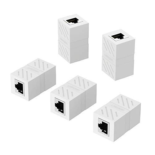 UGREEN 5 Unidades Adaptador RJ45 Hembra a Hembra, Conector RJ45 Hembra Hembra RJ45 Acoplador para Gigabit Ethernet 1000Mbps Cable de Red Cat 7 Cat 6 Cat 5 (Blanco)