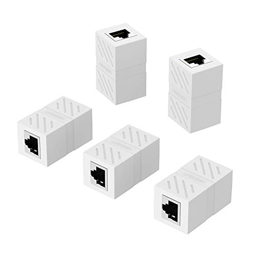 UGREEN RJ45 Kupplung LAN Netzwerk Verbinder Ethernet Koppler LAN Adapter für LAN Kabel, Ethernet Kabel, Netzwerkkabel, Patchkabel, RJ45 Coupler für Cat7, Cat8, Cat6, Cat5e, 5 Stücke (Weiß)