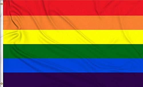 HomeSmith 3'x5' Foot Rainbow Flag Gay Lesbian Pride LGBT Banner Flags - Vivid Color and UV Fade Resistant - Canvas Header and Double Stitched Polyester with Brass Grommets