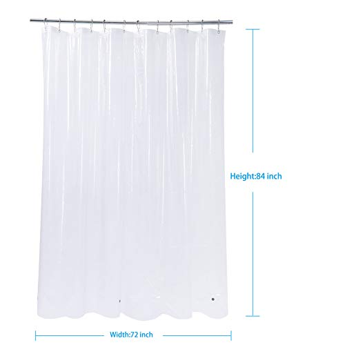 AmazerBath Shower Curtain Liner, Waterproof PEVA 8G Shower Curtain with 3 Magnets and 12 Grommet Holes, 72 x 84 Inches Plastic Shower Curtain for Bathroom, Clear