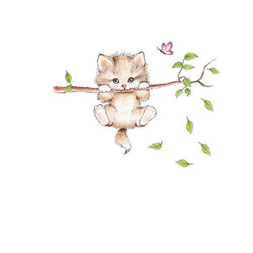 jingyuu 1 Stück Abnehmbar Wohnzimmer Karikatur Katze Wandsticker Aufkleber Fenster Wandsticker Tapete für Wohnzimmer Schlafzimmer Deko 70 * 55cm
