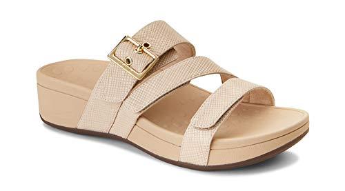 Vionic Women's Pacific Rio Platform Sandal - Ladies Adjustable Slide Sandal with Concealed Orthotic Arch Support Nude Lizard 11 Medium US