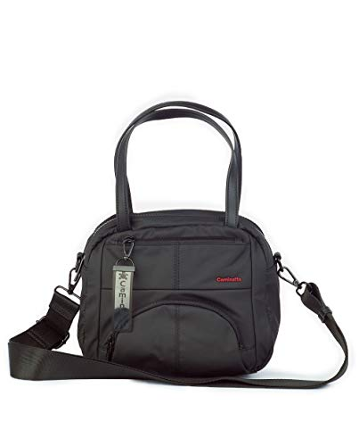 CAMINATTA Bolso de Mano Bandolera Mujer Negro Bowling Doble Compartimento de Bandolera Bolsillos Cierre Cremallera Seguro Sintético 24x22x11