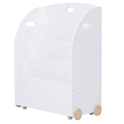 Étagère en bois, étagère de rangement blanche pour enfants, bibliothèque pour enfants avec roues 2 en 1 pour utilisation en tant que Walker, bibliothèque solide, Meuble Enfant, Meuble Enfant