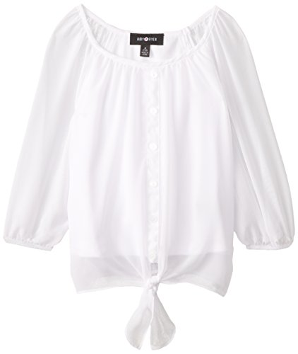 Amy Byer Girls' Picture Perfect Tie-Front Chiffon Top, White, Medium