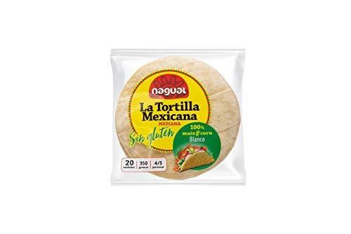 Nagual Tortillas de Maíz Blanco Nixtamalizado, para veganos y celiacos - Pack de 20 tortillas de 12 cm