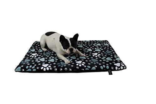 HS-Hundebett gepolsterte Hundedecke in 6 Größen I Qualität Made in Germany - waschbar bei 40° - trocknergeeignet I weiche Kuscheldecke für große & kleine Hunde (45 x 65 cm, Pfote Schwarz)