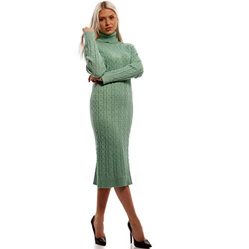 Damen Strickkleid in Midi-Länge Freizeit Basic Kleid Loose Herbst Winter Jumper One Size Stiefelkleid (One Size, Mint)