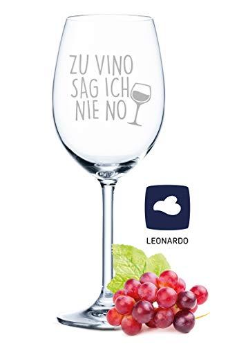 Leonardo Weinglas mit Gravur - Zu Vino sag ich nie no - Geschenk für Hobby-Sommelier & Weinliebhaber - Weingläser - Geburtstagsgeschenk für Frauen & Männer