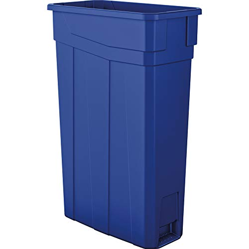 AmazonBasics 23 Gallon Commercial Slim Trash Can, No Handle, Blue, 4-Pack